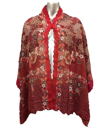 Batik Soft Scarf - Scallop Red