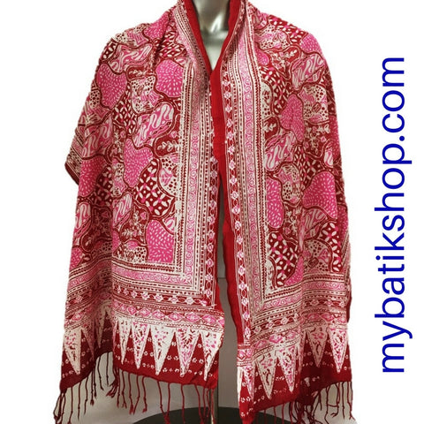 Batik Soft Scarf - Red Multi