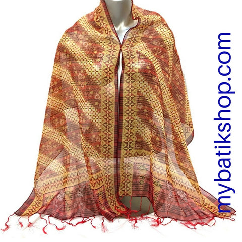 Batik Chiffon Scarf - Red Multi