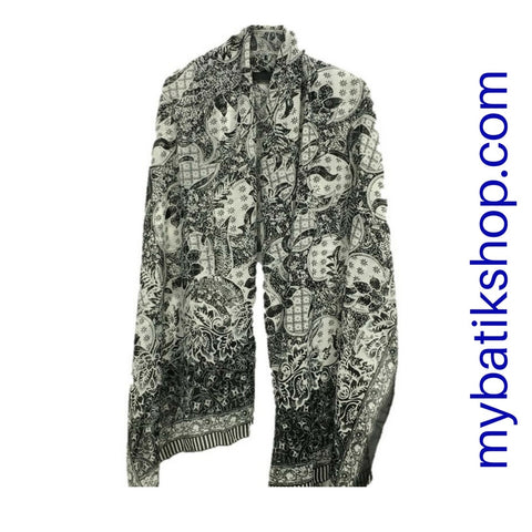 Batik Silk Scarf - Black and White