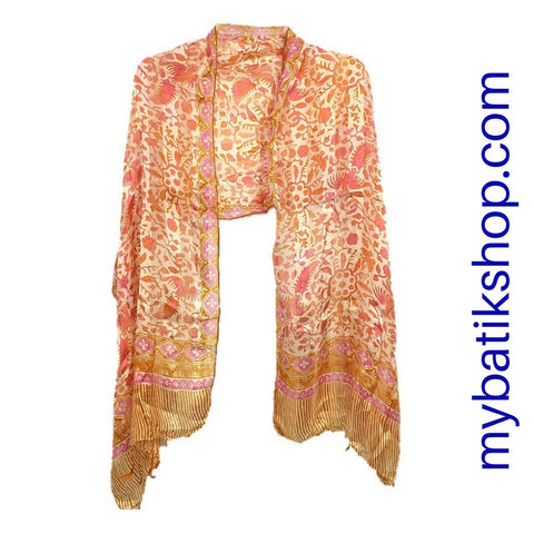 Batik Silk Scarf - Orange