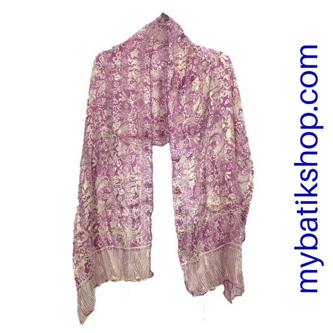 Batik Silk Scarf - Purple