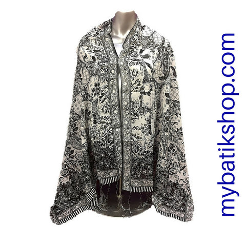 Batik Soft Scarf - Black and White
