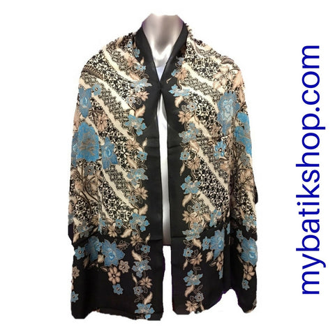 Batik Soft Scarf - Lely Blue Rose