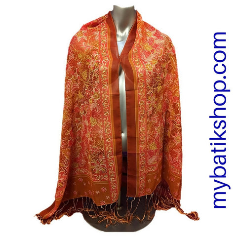Batik Soft Scarf - Orange Crush