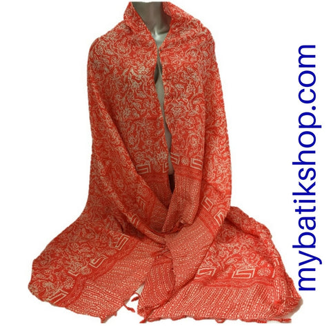 Batik Viscos Scarf - Orange