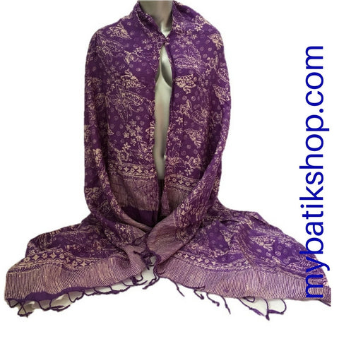 Batik Viscos Scarf - Purple