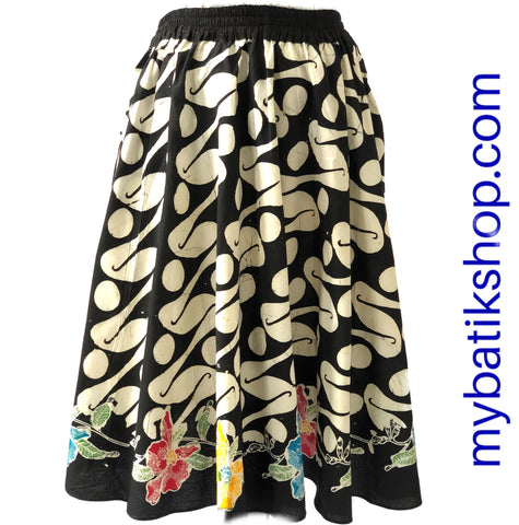 Batik Knee Length Parang Skirt Cap Tulis