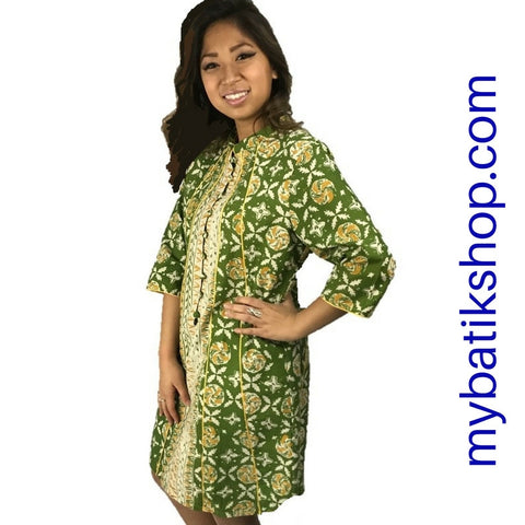Batik Print Dress/Blazer Green Grasshopper
