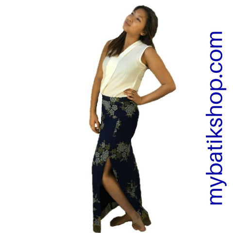 Batik Long Skirt High-slit Dark Blue