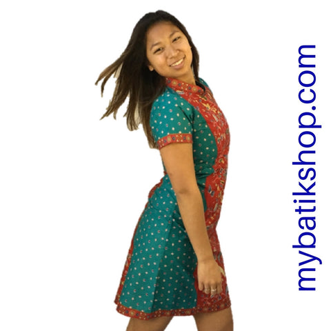Batik MJ Chinese-style Dress Red Blue