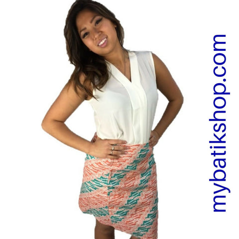 Batik Mini Skirt Soft Colors XS