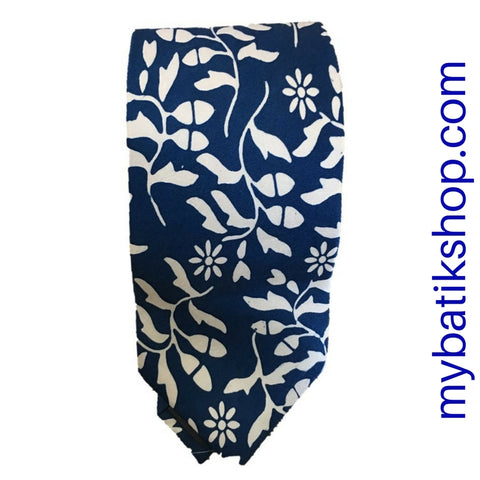 Men's Batik Tie Silky Blue and White Leaves