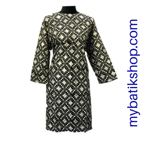 Batik Print Viscos Black 3/4 length.