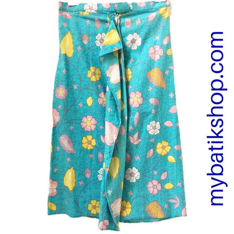 Batik for Girls - Voila Long Baby Blue Flower Sarong Skirt