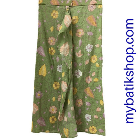 Batik for Girls - Voila Long Baby Green Flower Sarong Skirt