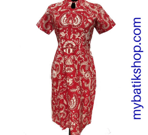 Batik Tulis Red Dress Shanghai Style