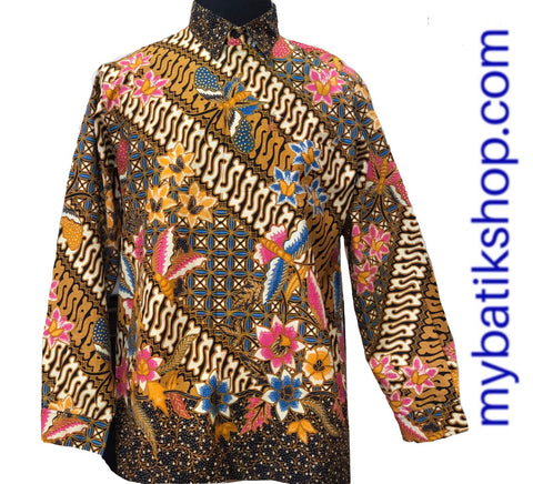 Batik Tulis for Men Butterfly Yellow Modern Long-sleeves