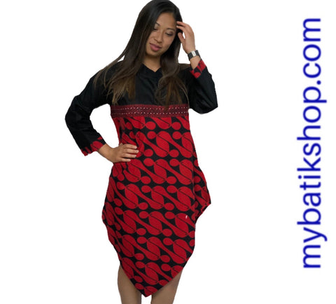 Batik Parang Hand-stamped Tunic Red Black Dress