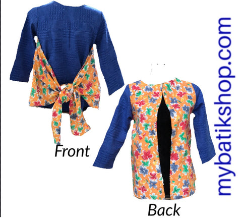 Misses Batik Blue Peachy Flowers