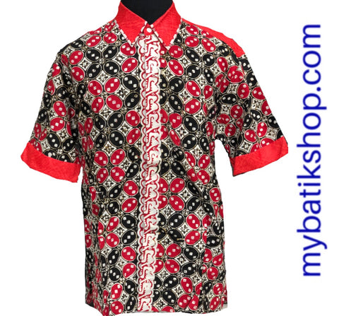 Batik Cap Colet Men's Shirt Red Black
