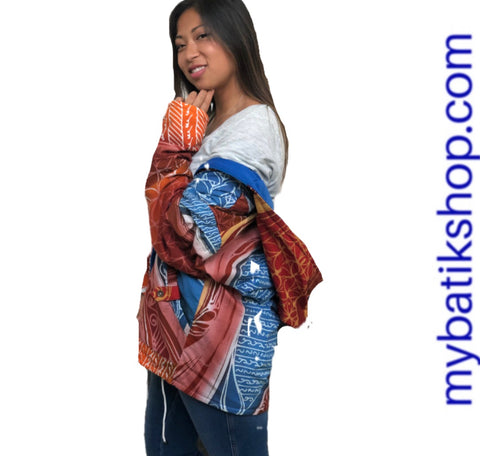 Hooded Reversible Abstract Batik Jacket