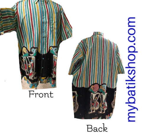 Batik Semi Tulis Wayang Stripes Multi Colors