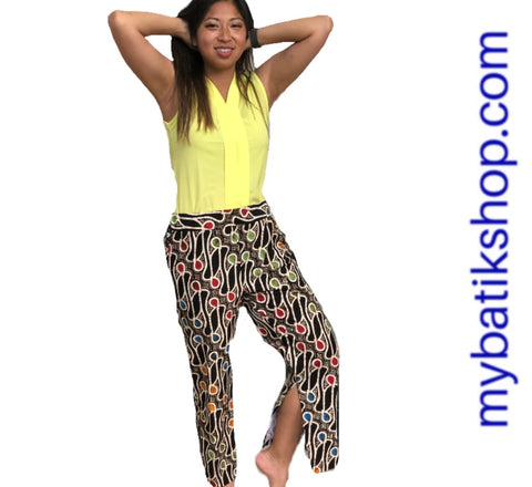 Leisure Batik Cap Capri Pants Multi