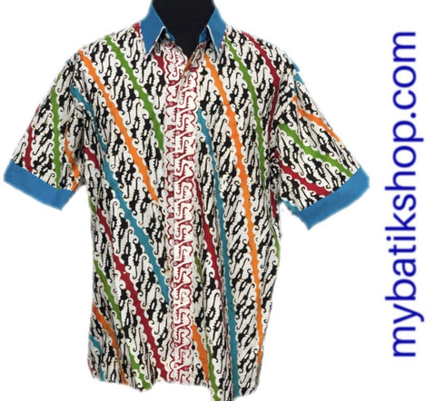 Batik Cap Colet Men's Shirt Blue