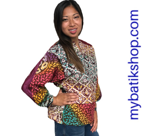 Batik Tulis Abstract Yogya Long-sleeves Top