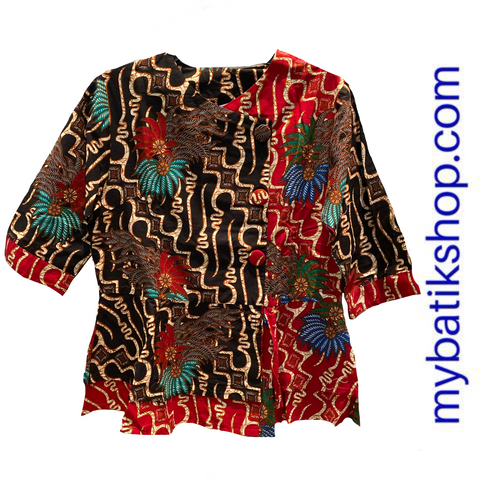 Misses Batik Red Black Flower Blouse