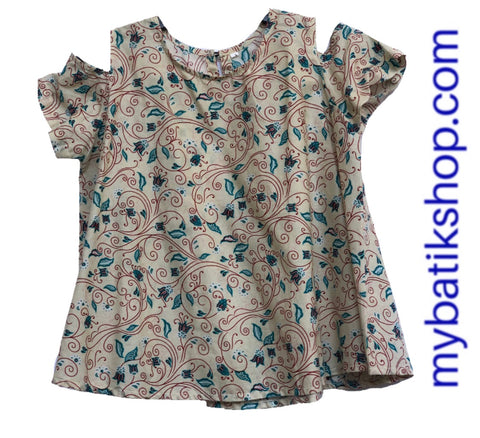 Misses MJ Batik Top Light Beige