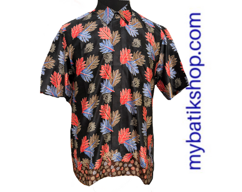 Batik for Men Semi Silk Black Short Sleeves
