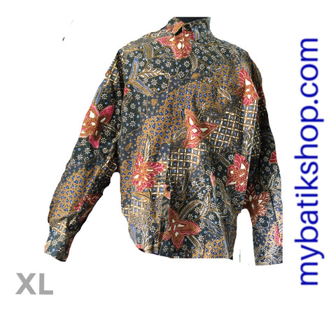 Batik for Men Tulis Pekalongan Algae Green Long-sleeve Blue
