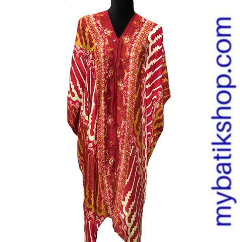 Batik Silk Kaftan Red Yellow Parang