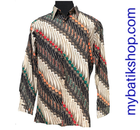 Batik Tulis for Men Modern Long-sleeves Parang Color Dots