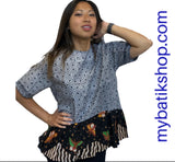 Misses Batik Short-sleeve Black White Multi Blouse
