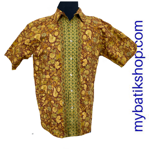 Batik Keris for Men Short-sleeve Yellow Gold Size Large