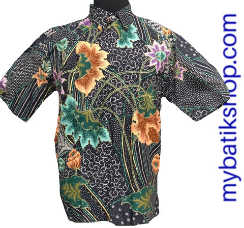 Batik for Men Green Black Short-sleeves Flowers
