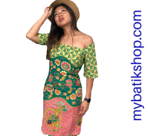 Batik Wayang Short-sleeves Sabrina Dress