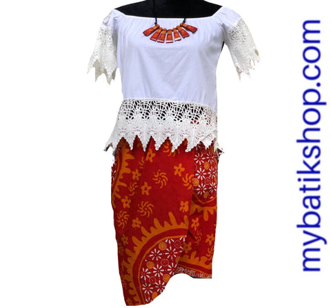 Batik Cap Abstract Skirt Red Orange