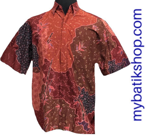 Batik Tulis for Men Red Brick Short-sleeves