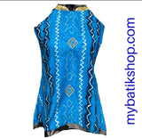 Batik Semi Silk Blue Sleeveless Top