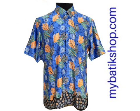 Men Semi Silk Blue Short Sleeves