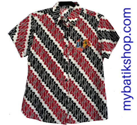 MJ Batik Collared Shirt Short-sleeves Embroidery Red Black White