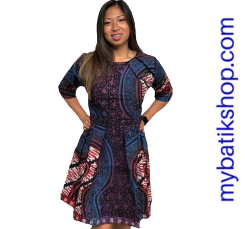 Batik Tulis Career Purple 2/3 Sleeves Dress