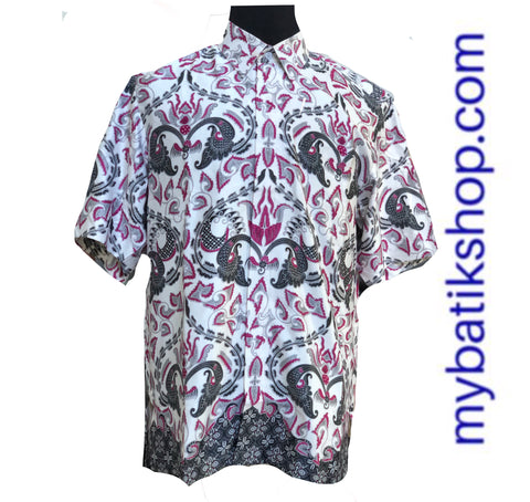 Men Soft Semi Silk Purple Gray Short Sleeves