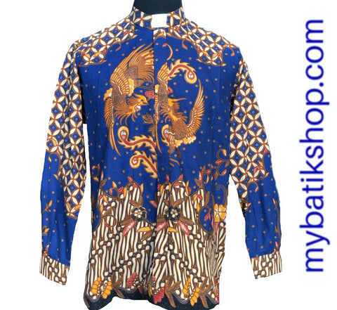 Batik Romo Koko for Men Semi Tulis Solo Long-sleeves Blue