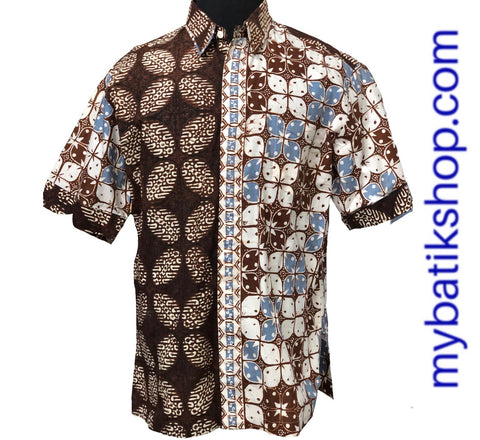 Batik Cap Colet Men's Shirt Brown Blue