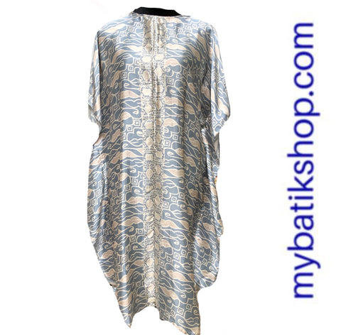 Batik Silk Kaftan Dusty Blue Parang